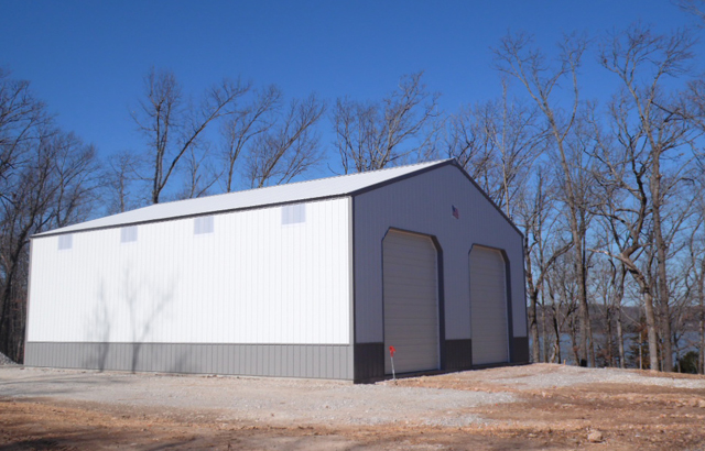 Laird 40X50X16 AMKO steel truss wood frame building, NW Arkansas.